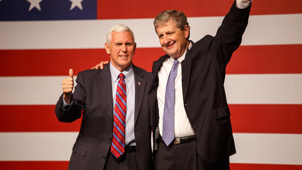 U.S. Vice President Mike Pence campaigning with Louisiana Senator John Neely Kennedy. 2016.