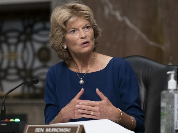 Sen. Lisa Murkowski, R-Alaska, asks a question at a Senate committee hearing in September. She is the first Republican senator to call on President Trump to step down.