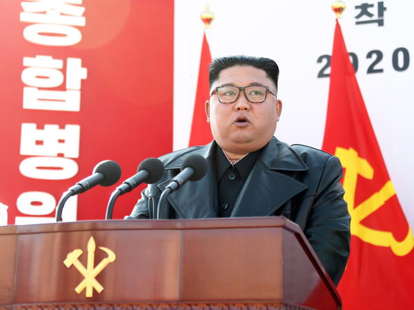 North Korean leader Kim Jong Un speaks at the groundbreaking ceremony for the construction of Pyongyang General Hospital on March 17, 2020.