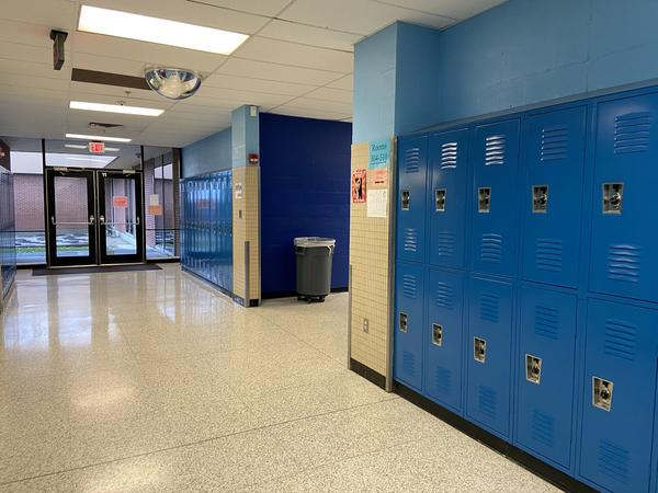 An empty hallway at a middle school in Westerville after K-12 schools were closed in March 2020.
