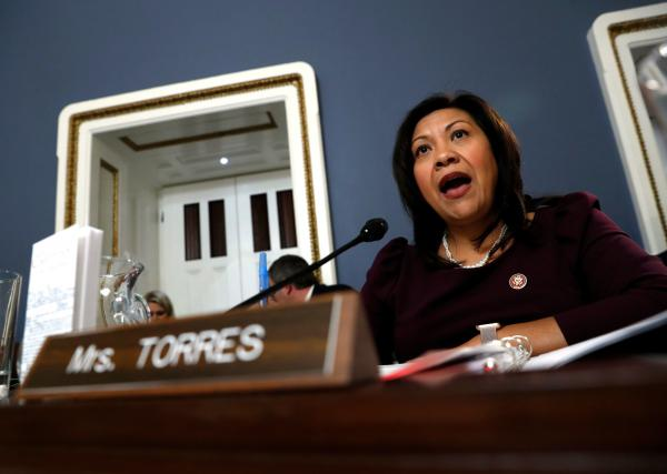 Rep. Norma Torres, D-Calif., seen here during a hearing in 2019, urged her colleagues on Tuesday to support a resolution calling on Vice President Pence to remove Trump from office via the 25th Amendment.