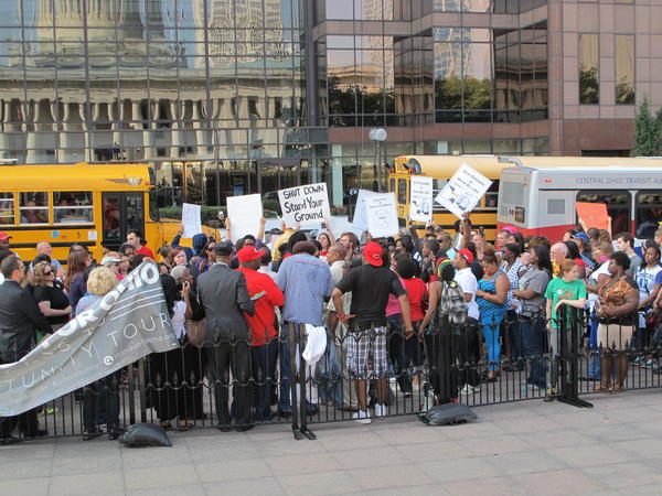 """A rally opposing a so-called """"Stand Your Ground"""" bill brought a few dozen people to the Statehouse in October 2013."""