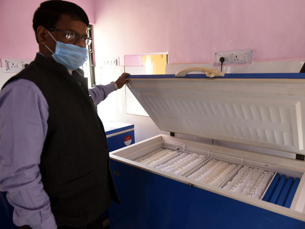 A box for COVID-19 vaccine storage in Aishbagh, an area in Lucknow, India, on Tuesday. India, a country of 1.4 billion people, is preparing to launch what will likely be the world's largest immunization drive to combat the coronavirus.
