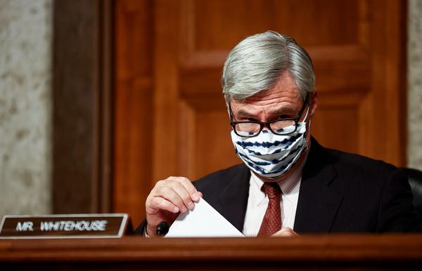"US Senator Sheldon Whitehouse (D-RI) attends a Senate Judiciary Committee hearing titled, ""Breaking the News: Censorship, Suppression, and the 2020 Election, on Facebook and Twitter's content moderation practices, on Capitol Hill in Washington."
