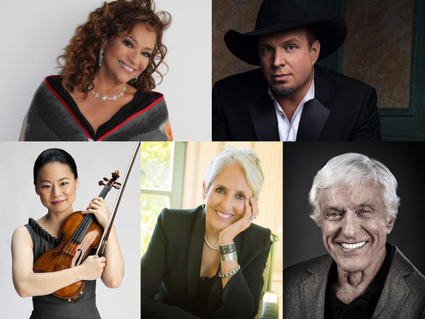 Clockwise from upper left: Debbie Allen, Garth Brooks, Dick Van Dyke, Joan Baez and Midori Goto.