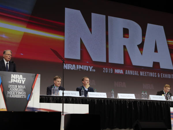 The National Rifle Association's annual meeting in 2019 in Indiana. The NRA filed for Chapter 11 bankruptcy Friday, saying it aims to reincorporate as a nonprofit in Texas and leave New York, where the state has filed a fraud suit against it.