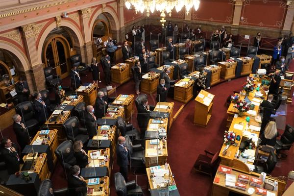 The Colorado State Senate says the pledge of allegiance at the start of the 2021 session on Wednesday.