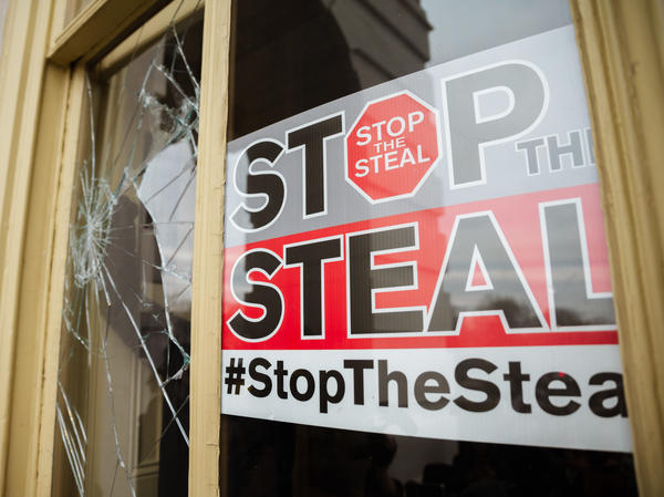 A Stop The Steal sign is posted inside the U.S. Capitol after a pro-Trump mob broke into the building on Jan. 6.