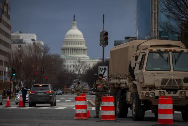One of the many security checkpoints in Washington, D.C., ahead of Wednesday's inauguration ceremony.