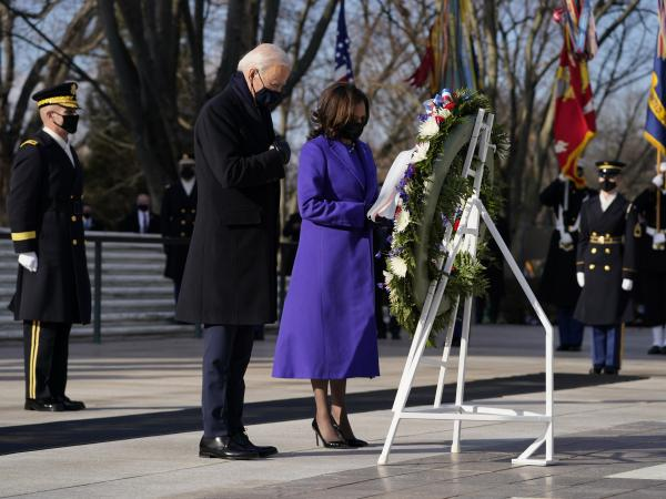 President Biden and Vice President Harris participate Wednesday in a wreath-laying ceremony at the Tomb of the Unknown Soldier at Arlington National Cemetery in Arlington, Va.