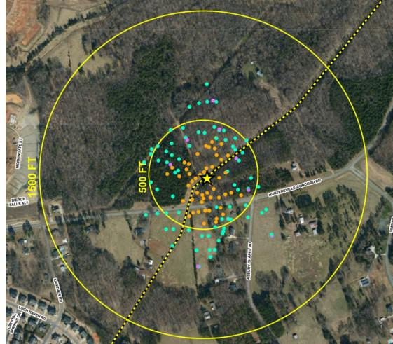 Map shows the locations of wells around Colonial Pipeline's Huntersville spill.  Orange dots are the 50 wells where gasoline has been recovered.