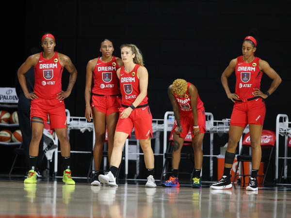 The Atlanta Dream team walks onto the court during the game against the Indiana Fever on August 2, 2020 at Feld Entertainment Center in Palmetto, Florida.