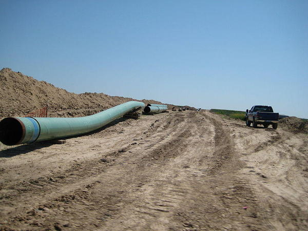 A section of pipe from the Keystone Pipeline.