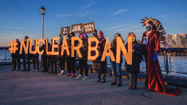 Activists in New York City show their support for the Treaty on the Prohibition of Nuclear Weapons, which took effect on Friday.