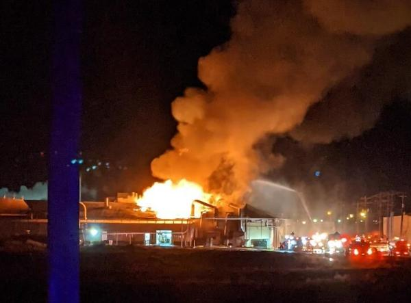 A Warden, Wash., potato processing plant burned and caused evacuations for much of town Thursday night, Jan. 21, 2021.