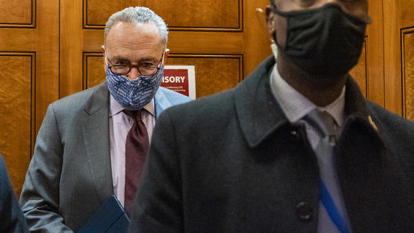Senate Majority Leader Chuck Schumer, D-N.Y., is seen at the U.S. Capitol Friday.