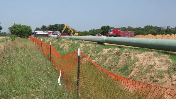 A section of the Keystone XL pipeline, since renamed the Gulf Coast pipeline, before it went into the ground on Julia Trigg Crawford's farm in 2012.