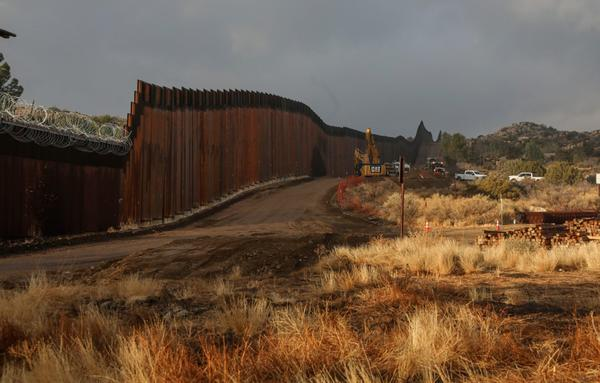 Work is done on a new border wall being constructed in Jacumba, California.