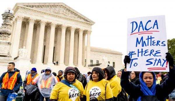 A rally outside of the U.S. Supreme Court building as DACA cases were heard inside on Nov. 12, 2019, in Washington, D.C.