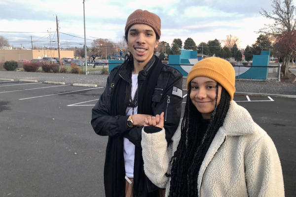 Ywhna Bin Wahid, left, and Baleigh Sampson helped organized a Black Lives Matter protest in Moses Lake, Wash., in June.