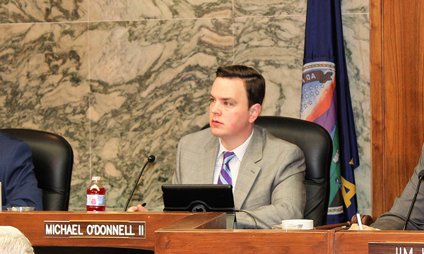 Michael O'Donnell during a 2019 county commission meeting