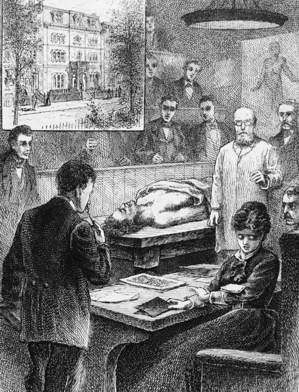 An illustration shows medical student Elizabeth Blackwell at Geneva Medical College (later Hobart College) in upstate New York, as she eyes a note dropped onto her arm by a male student, during a lecture in the college's operating room.