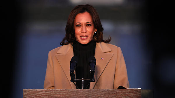 Vice President-elect Kamala Harris speaks at a memorial for victims of the coronavirus pandemic at the Lincoln Memorial on the eve of her inauguration as the first woman, first Black American and first person of Indian heritage to become vice president.