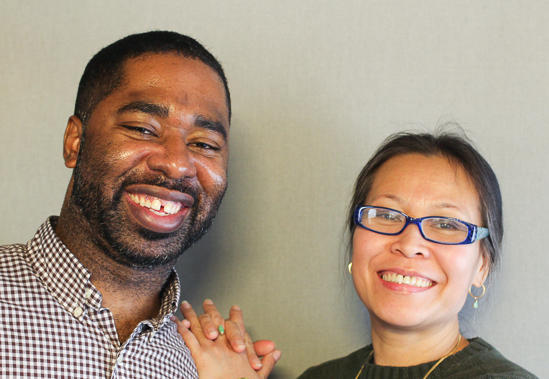 Christopher Myers, left, and his GED student, Ngoc Nguyen, right.