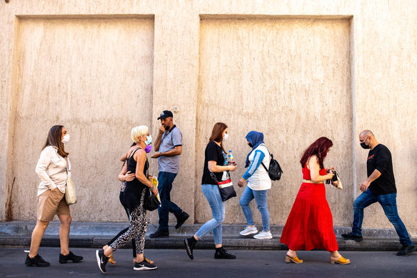 Israeli tourists walk through the Deira district near Dubai's grand souk in December.