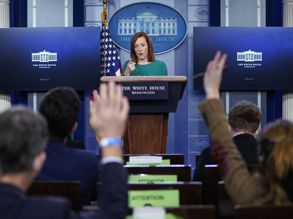 White House press secretary Jen Psaki speaks during a daily press briefing on Jan. 25.