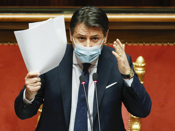 Italian Prime Minister Giuseppe Conte replies to questions ahead of a confidence vote last week at the Senate at Palazzo Madama in Rome. Conte handed in his resignation Tuesday.