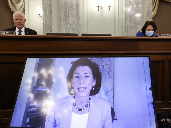 Rhode Island Gov. Gina Raimondo appears through video conferencing Tuesday during a Senate hearing for her nomination as the secretary for the Commerce Department, which oversees the U.S. Census Bureau.