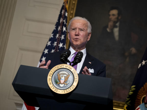 President Biden speaks about the coronavirus pandemic in the State Dining Room of the White House on Tuesday.
