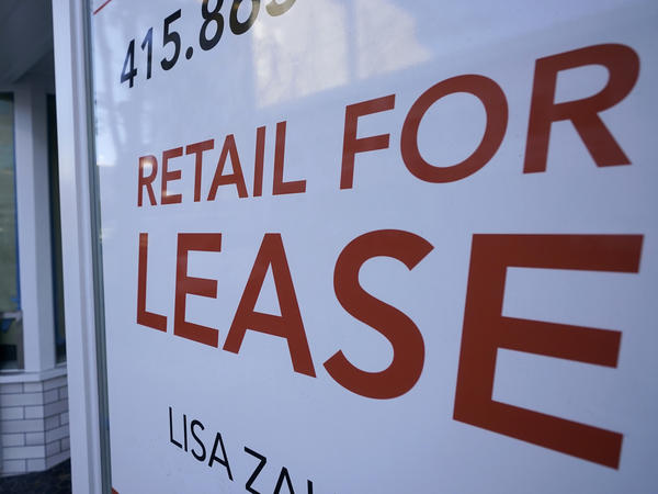 A sign noting a retail space is available for lease appears in San Francisco in December. A resurgence in the pandemic likely dealt a major blow to the U.S. economy in the fourth quarter.