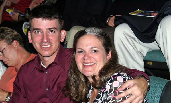 Kristen Christy poses with her husband Don in a 2005 photo. Don, an Air Force lieutenant colonel, died by suicide in 2008.