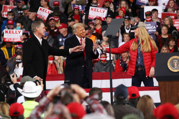 President Donald Trump attends a rally for Sens. David Perdue and Kelly Loeffler on Dec. 5 in Valdosta, Ga. Both GOP senators ultimately lost their runoff elections this month, handing control of the Senate to Democrats.