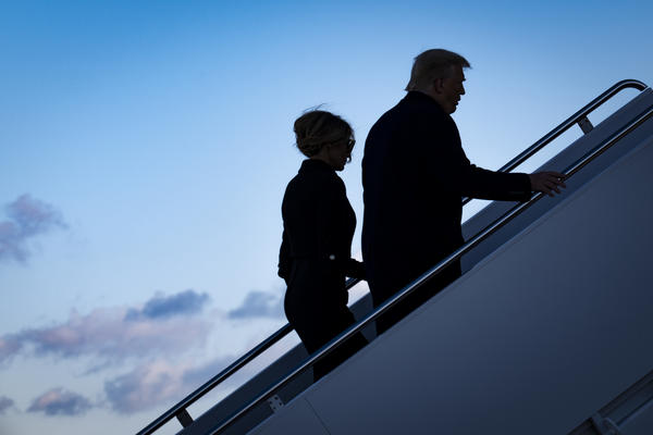 Leaving Washington, D.C., behind, the Trumps board Air Force One at Joint Base Andrews in Maryland on Jan. 20, hours before President Biden's inauguration.