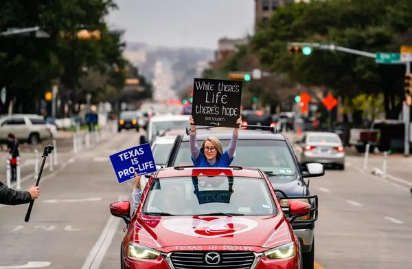 Protesters demonstrate against abortion at the Texas Rally for Life on Jan. 23, 2021, at the state Capitol in Austin.