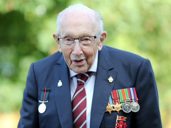Capt. Sir Tom Moore poses in September while marking the launch of his memoir, <em>Tomorrow Will Be a Good Day,</em> in Milton Keynes, England.