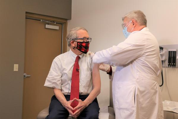 Ohio Gov. Mike DeWine receives his first dose of the Pfzier coronavirus vaccine on Tuesday, Feb. 2.