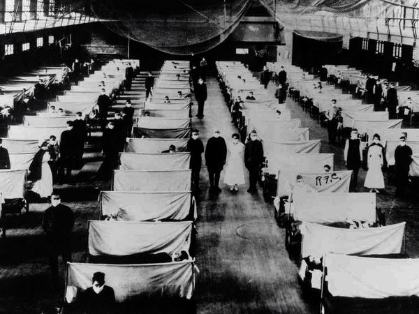 Sick patients were isolated in converted warehouses during the 1918-19 global influenza pandemic, which killed an estimated 50 million worldwide.