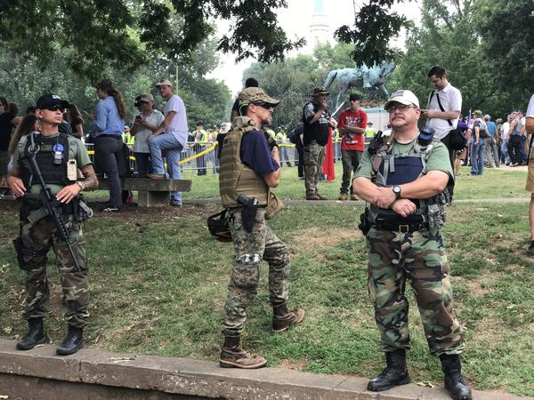 "Oath Keepers patrol Emancipation Park for the Charlottesville ""Unite the Right"" rally in 2017."