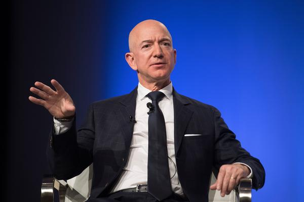 Amazon CEO Jeff Bezos delivers the keynote address at the Air Force Association's Annual Air in 2018.