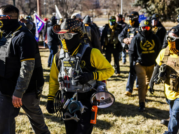 "Public Safety Canada notes that last month, members of the Proud Boys ""played a pivotal role in the insurrection at the U.S. Capitol."" Here, Proud Boys members join Donald Trump supporters at a protest outside the Colorado State Capitol last month in Denver."