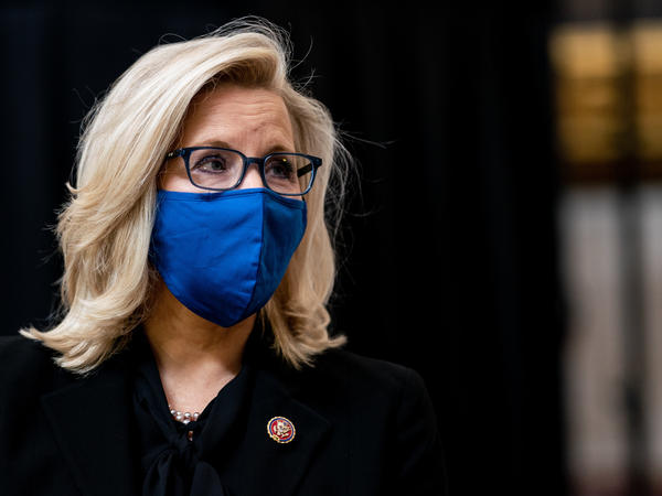 U.S. Rep. Liz Cheney attends a congressional tribute to the late Capitol Police officer Brian Sicknick who lies in honor in the Rotunda of the U.S. Capitol on February 3, 2021.
