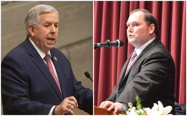 Missouri Gov. Mike Parson (left) and House Speaker Rob Vescovo