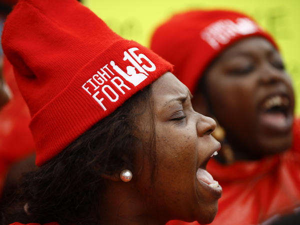 Demonstrators call for a union and $15 minimum wage at a McDonald's in Charleston, S.C., in February 2020. The U.S. Senate has voted to prohibit an increase in the federal minimum wage during the pandemic.
