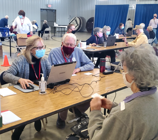 Libraries across Indiana are assisting in covid-19 vaccine assistance. Staff have been trained to answer questions and register residents. Staff at thehe Knox County Public Library assist at a local site.