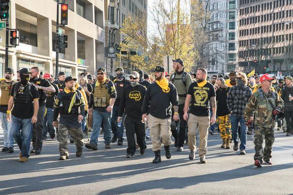 The Proud Boys are designated as a hate group by the Southern Poverty Law Center. The law center notes their ties to extremists, support of white nationalists and anti-Muslim and misogynistic rhetoric.