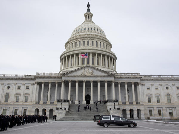 The U.S. Capitol is seen earlier this week during ceremonies in honor of Capitol Police officer Brian Sicknick who suffered fatal injuries during the Jan. 6 attack on the building.